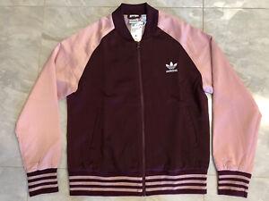 NWT Adidas Satin Bomber Track Jacket - XS [ED4787] Full Zip Maroon/Pink