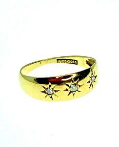 Art Deco 18ct Gold 3 Diamond Gypsy Ring Wedding Eternity - Size L