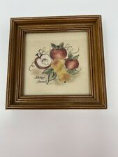 "Early American Decorative Art Theorem Painting Apples & Pears 5""x5"" Sandy Honan"