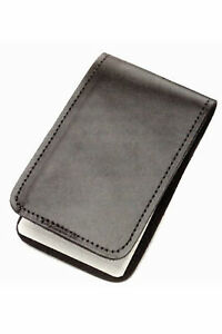 """Police Black Leather Duty Memo Book Note Pad Holder Cover Case Sleeve 3""""x5"""""""