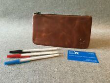 """Leather Pencil Case Waxed Buffalo PCA 8"""" x 4.5"""" Art Student Billy Goat Designs"""