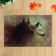 Black Wolf and Gray Wolf Bath Mat Flannel Rug Anti-slip Floor Door Mat