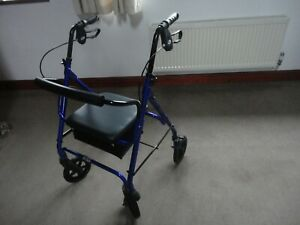 "LOVELY  ""DAYS"" 4 WHEEL BLUE SHOPPER WALKER WITH SEAT & COMPARTMENT USED A FEW TI"