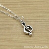 Silver Treble Clef Charm Necklace - Music Notes Musician Pendant Jewelry NEW