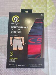 Champion Men's C9 3-Pack Performance Cotton Stretch Boxer Briefs mens medium.