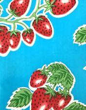 Oil Cloth YardageTablecloth Craft Fabric BTY Blue Strawberry Preppy Cute