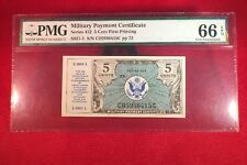 Military Payment Certificate Series 472 5 Cent Pmg 66 Epq First Printing