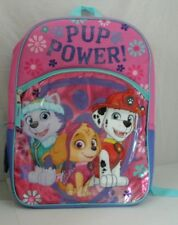 "Nickelodeon Paw Patrol Girls 16"" Backpack Pup Power Padded Straps NWT"
