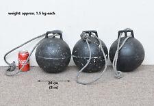 3x Vintage old metal fishing float buoy old net crab/lobster floats antique 20cm