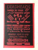 Original Rare Dead Heads Underground 1987 Vintage Red Black & White Flyer