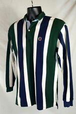 Vtg 90s Men XL Tommy Hilfiger LS Polo Vertical Stripes OG Chest Crest Box Label