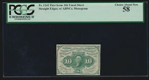 """US 10c 1st Issue Fractional Currency w/ """"ABC"""" 1st Issue FR 1242 PCGS 58 Ch AU"""