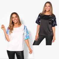 Womens Ladies Sequin Blouse Half Sleeve T Shirt Satin Boxy Party Top Fashion