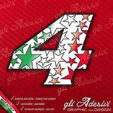 Pegatinas Adhesivas NÚMERO 4 auto moto cross STAR Verde Rojo Blanco Tricolor