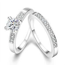 Women Rings 18K White Gold Filled CZ Luxury Band Wedding Jewelry Size 8