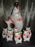 Fish Carafe jug pitcher, glasses white Figurine en porcelaine russe de l'URSS f