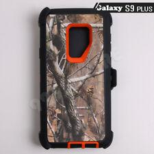 For Samsung Galaxy S9 Plus Orange/Tree Camo Defender Case (Clip Fits Otterbox)