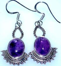 925 Sterling SILVER Purple Amethyst ANTIQUE luk Earring drop Earrings Jewellery
