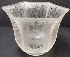 LAMP SHADE OCTAGON GLOBE FLORAL ETCHED DECORATIONS REPAIR REPLACEMENT GLASS