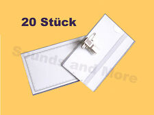 20 Stück Namensschild-Halter inkl. Nadel + Clip Namensschildhalter Visitenkarten