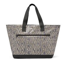 Victoria's Secret PINK Metallic Tote Black /Marl Gray / Rose Gold NWT in Plastic