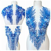 Handmade Rhinestones Applique Sew-on Gown Dress Beaded Royal Blue Lace Patches