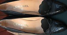 Authentic CHANEL Black Leather Pumps Black Toe Cap CC Logo Size 37.5  7.5