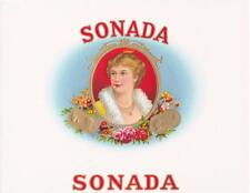 """"""" Sonada """" Inner Cigar Box Label Embossed Stone Lithograph Flowers, Coins, Lady"""