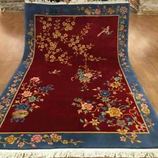 YILONG 5.5'x8' Red Handmade Wool Carpet Chinese Art Deco Floral Scene Rug TJ002S