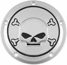 Bikers Choice Chrome Skull 5 Hole Derby Domed Cover Harley Twin Cam 99-16