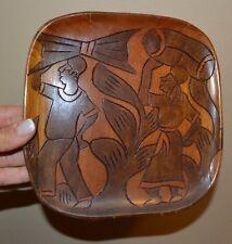 "Vintage 8"" Carved Wooden Plate Square 2 Sided Art"