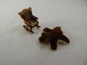 Dollhouse Miniature 1/4 Scale Small Rocker Rocking Chair w/Rug  #Z220 CLOSING