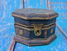 Old Wooden Hand Crafted Vintage Trinket Box Brass Fitting Home Utility & Décor