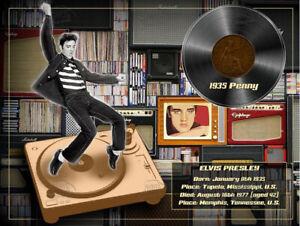 "Elvis Presley ""The King"" Original 1935 Birth Penny Designed Metal Info Plaque"