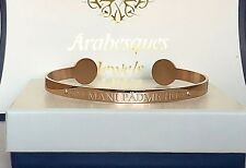 EXCLUSIVE ARABESQUES BUDDHA OM MANI PADME HUM MANTRA BANGLE/9ct ROSE GOLD PLATED