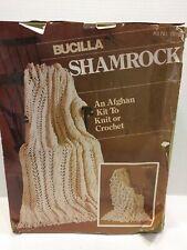 Vintage Sealed Bucilla Shamrock Afghan Kit #7916 to Knit or Crochet Cream color