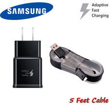 Fast Rapid BLACK Wall Charger 5 Ft Cable For Samsung Galaxy S6 S7 Edge Note4 5