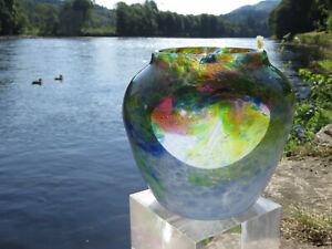 Beautiful Rare Monart Vase Scottish Art Glass Sky Blue ~ Rainbow Coloured Whorls