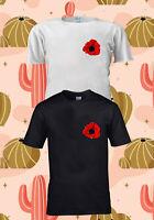Remembrance Day Poppy Lest We Forget Pocket T-SHIRT TSHIRT UNISEX MEN WOMEN 1424