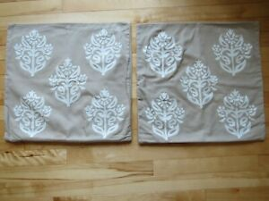 """2 Pottery Barn Kyla Pillow Covers Beige 18""""X18"""" Embroidered Floral Medallion"""