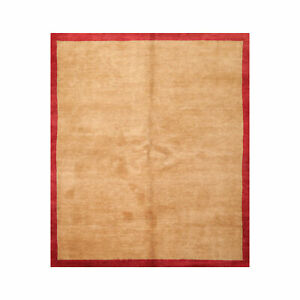 6'4'' x 7'5'' Square Hand Knotted Wool Tibetan Modern Oriental Area Rug Gold/Red