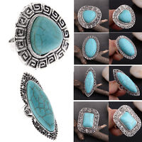 Bohemian Vintage Women Silver Elephant Turquoise Finger Rings Punk Ring Gift NEW