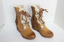 Sorel Women's Joan Wedge II Shearling-Lined Leather Waterproof Boots US 6