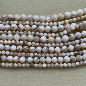 Shell 5mm & 8mm round beads in a natural pearly cream colour jewellery making