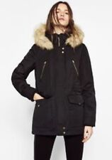 Zara Womens Parka Jacket Coat With Fur Hood Size XS