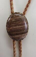 Vintage Antique Estate Brown Banded Jasper Cabochon Slide Bolo Tie