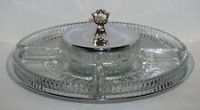 Vintage Kromex Lazy Susan No 405-21 Glass Center With 4 Trays Minimal Wear