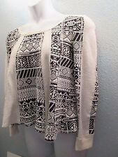 Lilka Anthropologie Top S Black and Off White Pullover Slub Top  LS Cute