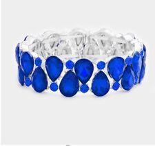 Royal Blue Stretch Stretchable Cuff Crystal Rhinestone Wedding Pageant Bracelet