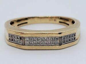 PROJECT 10k Yellow Gold 39 Diamond 2 Row Wedding Band Sz 10 Ring 4.4g